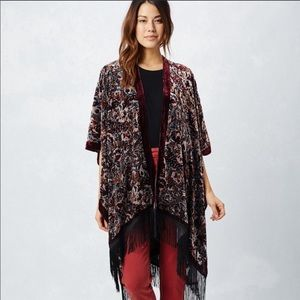 LOVESTITCH Boho Velvet Burnout Floral Kimono O/S